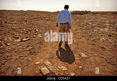 Mar 01, 2008 - Tallil, Iraq - Curator DIEF MOHSSEIN NAIIF AL-GIZZY walks through the Sumerian ruins next to the - Stock Photo