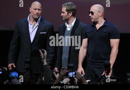 Apr 24, 2011 - Moscow, Russia - Actors DWAYNE JOHNSON, PAUL WALKER and VIN DIESEL attend the premier of Russian - Stock Photo