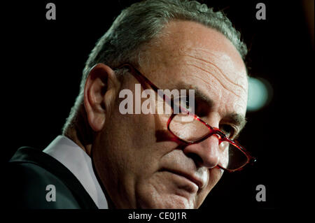 Sept. 22, 2011 - Washington, District of Columbia, U.S. - Senator CHUCK SCHUMER (D-NY) during a news conference - Stock Photo
