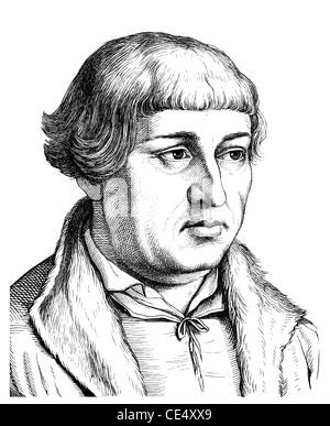 Johann Bugenhagen or Pomeranus or Dr. Pommer, 1485 - 1558, German reformer - Stock Photo