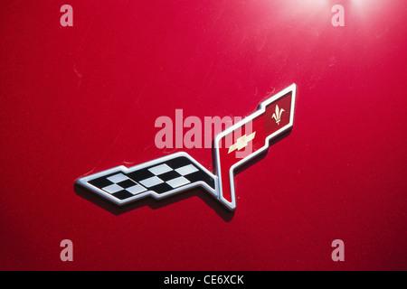 MMN 85465 : logo of red chevrolet corvette C6 car - Stock Photo