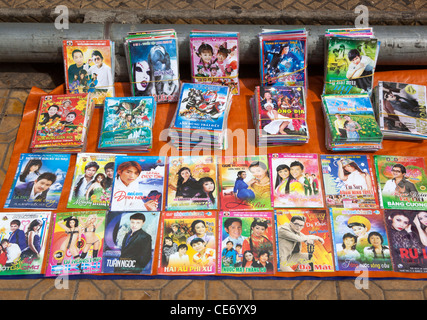 Vietnamese Dvds on sale on the street in Dalat - Stock Photo