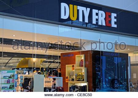 Duty Free tourist gift shop inside Terminal 3, Malaga airport, Malaga, Malaga Province, Costa del Sol, Andalucia, - Stock Photo