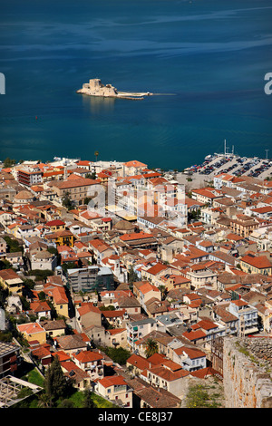 Panoramic view of  the old part Nafplio town and the Argolic gulf from Palamidi Castle. In the background, Bourdzi - Stock Photo