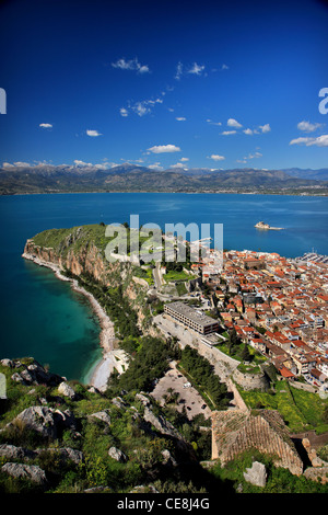 Panoramic view of Nafplio town and the Argolic gulf from Palamidi Castle - Stock Photo