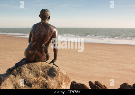 Mermaid Statue Bronze Sculpture Folkestone Kent - Stock Photo