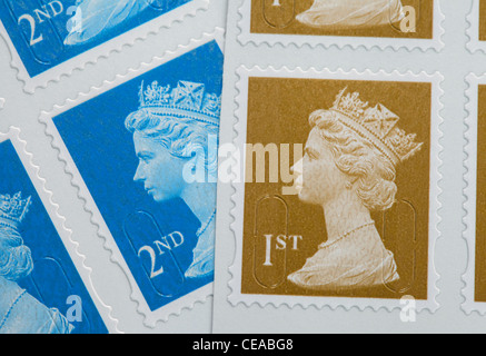 English first and second class stamps, UK - Stock Photo