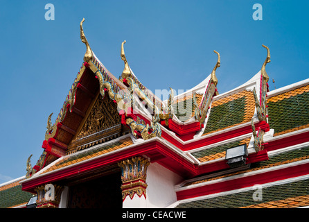 Roof Detail, Wat Arun Temple, or the Temple of the Dawn, Bangkok, Thailand. - Stock Photo