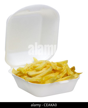 some french fries in a open white plastic box isolated on white - Stock Photo