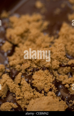 Light brown muscovado sugar and melted chocolate - Stock Photo