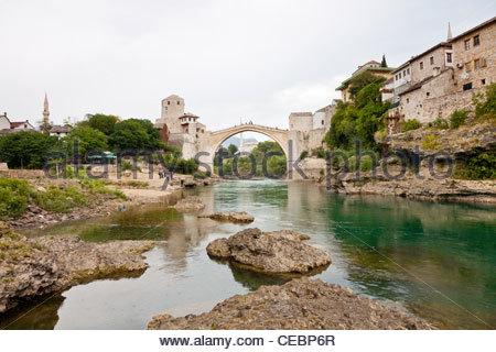 Stari Most (Old Bridge) over Neretva river, Mostar, Bosnia and Herzegovina, Europe - Stock Photo