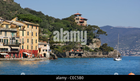 View on Portofino - famous small town and popular touristic resort on Ligurian Sea in Italy. - Stock Photo