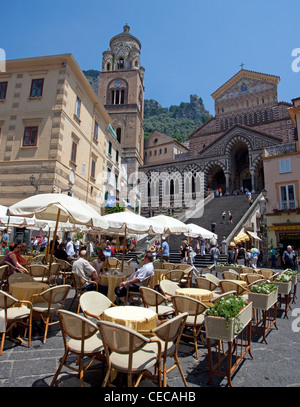 View from street cafe on Cathedral of St. Andrew, Piazza del Duomo, Amalfi, Amalfi coast, Unesco World Heritage - Stock Photo