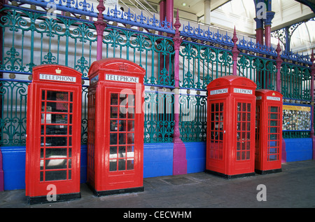 England, London, Red Telephone Boxes - Stock Photo