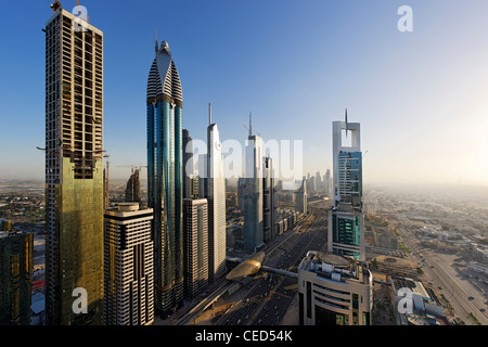 View of downtown Dubai, to the left ROSE RAYHAAN by Rotana, towers, skyscrapers, hotels, modern architecture, Sheikh - Stock Photo