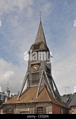 EUROPE, FRANCE, Honfleur, wooden Eglise Ste Catherine (St Catherine Catholic Church, 15th Century), separate bell - Stock Photo