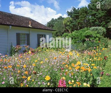 The Treaty House and gardens, Waitangi Treaty Grounds, Waitangi, Bay of Islands, Northland Region, North Island, - Stock Photo