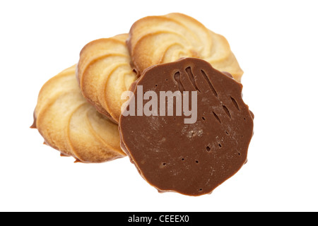 Four half chocolate covered Viennese biscuits - Stock Photo