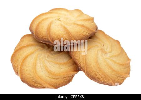Three half chocolatee covered viennese biscuits - Stock Photo