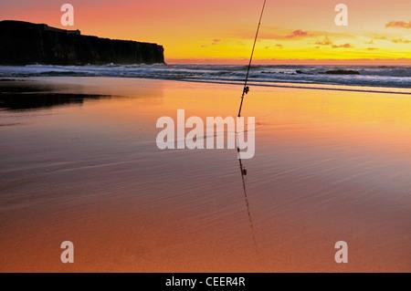 Portugal, Algarve: Twilight at beach Praia do Tonel in Sagres - Stock Photo
