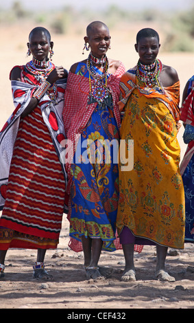 Maasai women near their village in Amboseli National Park, Kenya, East Africa. - Stock Photo