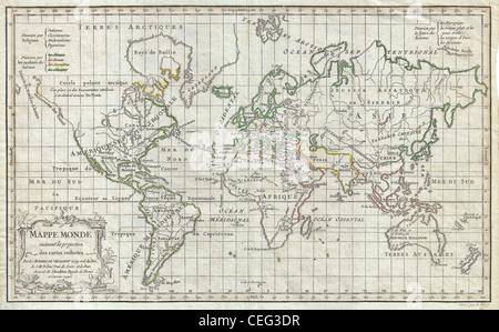 1784 Vaugondy Map of the World on Mercator Projection - Stock Photo