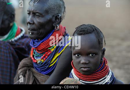 Africa KENIA Turkana Region, refugee camp Kakuma , Turkana tribe suffer from drought and food shortage - Stock Photo