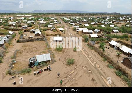 Africa KENIA Turkana Region, refugee camp Kakuma IV , UN organizations as WFP UNHCR and LWF give relief service - Stock Photo