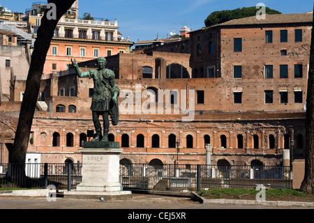 Statue of Emperor Trajan in front of Trajan's Market, Rome, Latium, Italy - Stock Photo