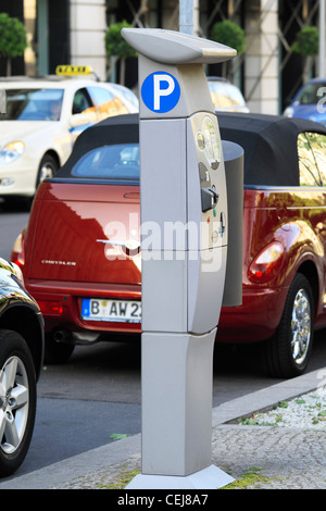 Modern parking ticket machine, Berlin, Germany - Stock Photo
