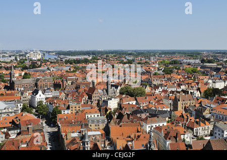 Aerial view on the medieval city of Bruges and Zeebrugge, Belgium. - Stock Photo
