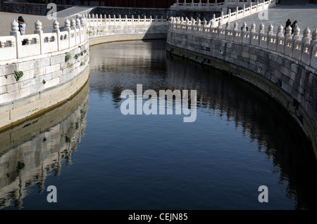 white stone marble wall first courtyard inner golden river forbidden city beijing - Stock Photo