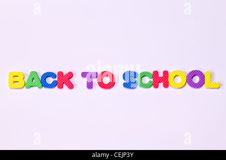 colorful letters with 'BACK TO SCHOOL' isolated on white background - Stock Photo