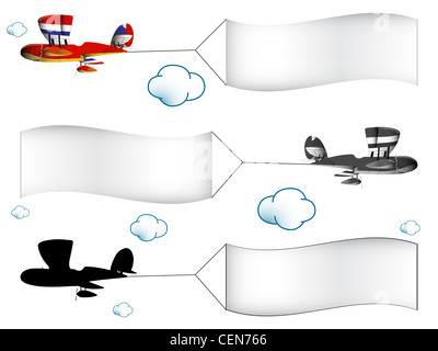 cartoon airplanes with banners in the cloudy sky, abstract vector art illustration; image contains transparency - Stock Photo