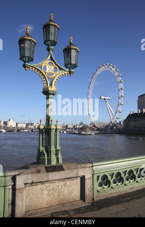 London Eye view from Westminster Bridge - Stock Photo
