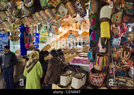 Dried fruit and nuts stall on Rue Souk Smarine in the Souks, Medina, Marrakech, Morocco, North Africa - Stock Photo