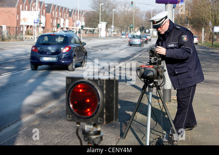 Police control, traffic speed control by a radar measuring system. - Stock Photo