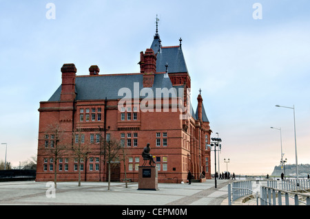 The Pierhead Building of the National Assembly for Wales, Welsh history museum, Cardiff Bay, Wales, uk - Stock Photo