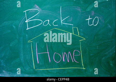 Back to home text on the blackboard - Stock Photo