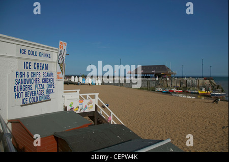 A Snack hut on the beach at Broadstairs. - Stock Photo