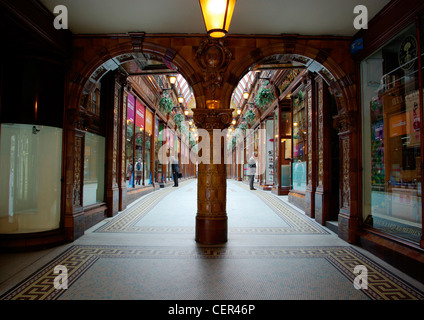 Two men window shopping in Central Arcade. - Stock Photo