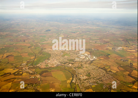 High altitude view from a plane over Essex from a plane. - Stock Photo
