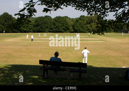 Cricket match being played on a village green. - Stock Photo