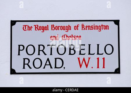 Portobello Road W11 Street Sign in the Royal Borough of Kensington and Chelsea. - Stock Photo