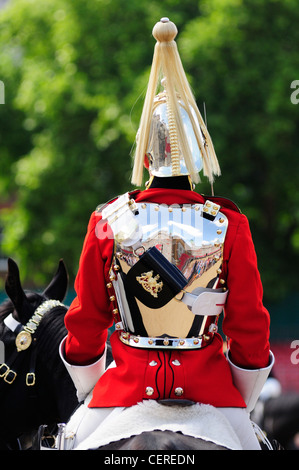 Rear view of a soldier from the Household Cavalry Mounted Regiment (HCMR) on duty at Horse Guards Parade. - Stock Photo