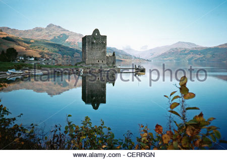 A view toward Carrick Castle on Loch Goil. - Stock Photo