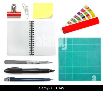 Collection of different graphic design office objects isolated on white background - Stock Photo