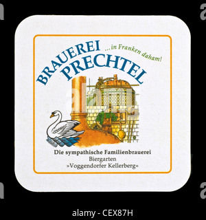 Beer mat from Prechtel Brewery, Franconia, Bavaria, Germany. - Stock Photo