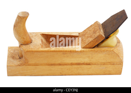 Old carpenter tool, wooden plane, isolated on white - Stock Photo