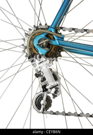 derailleur on a vintage lightweight racing bicycle - Stock Photo